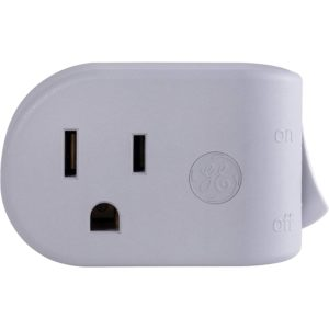 GE Grounded On/Off Power Switch, Plug-In, Energy Efficient, Space Saving Design, UL Listed, Gray, 45203