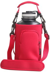 Watruer Hydro Carrier, Neoprene Water Bottle Sleeve Carrier Holder with Shoulder Strap, Pouch, Pocket & Carrying Handle (Fits HydroFlask, Yeti, Growlers, Similar Thermos Bottles)