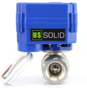 "Motorized Ball Valve- 1/2"" Stainless Steel Ball Valve with Full Port, 9-24V AC/DC and 2 Wire Auto Return Setup by U.S. Solid"