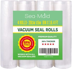 """Vacuum Sealer Roll Bags 4 Pack 8""""x16.4' Commercial Food saver Storage Rolls for Sous Vide Seal Bags BPA Free"""