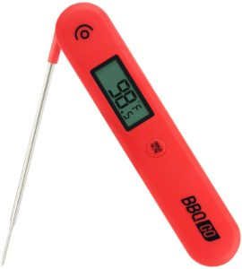 BBQGO Digital Instant Read Thermometer, Meat Thermometer with Calibration, Magnet, Foldable Probe, Large Screen, Wireless BBQ Thermometer C/F Switch for Kitchen, Milk, Candy, Deep Fry, Bath Water