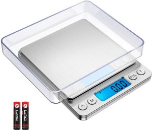 ORIA Digital Kitchen Scale, Mini Pocket Jewelry Scale, 500g/ 0.01g Precise Graduation, Multifunction Cooking Scale with 2 Trays, 6 Units, Tare and PCS Function, Stainless Steel (Batteries Included)