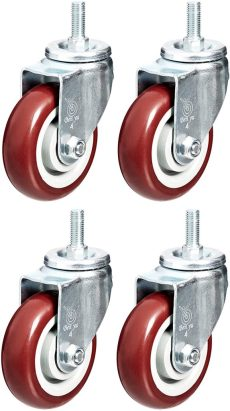 AmazonCommercial 4-Inch Top Plate Swivel PVC Caster, Red, 4-Pack