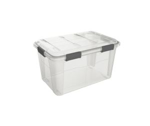 Ezy Storage Weatherproof Clear Latching Tote, 50 L