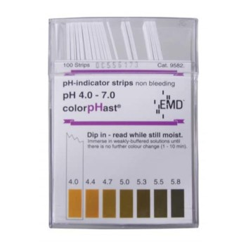 ColorpHast pH Strips - 4.0 to 7.0 (100 Strips) MT629
