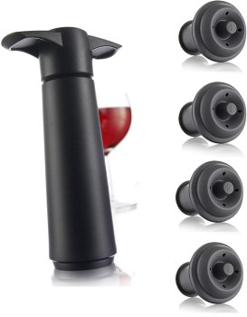 Vacu Vin Wine Saver Pump with 2 x Vacuum Bottle Stoppers - Black (Black Pump + 4 Stoppers)