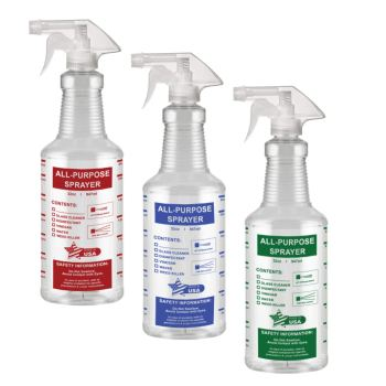 32 Oz All-Purpose Spray Bottles, Empty/Reuseable, Heavy Duty, Clear PET Plastic, Trigger Sprayer, Industrial Size, Chemical Resistant, Made in USA (3 Pack, Combo)