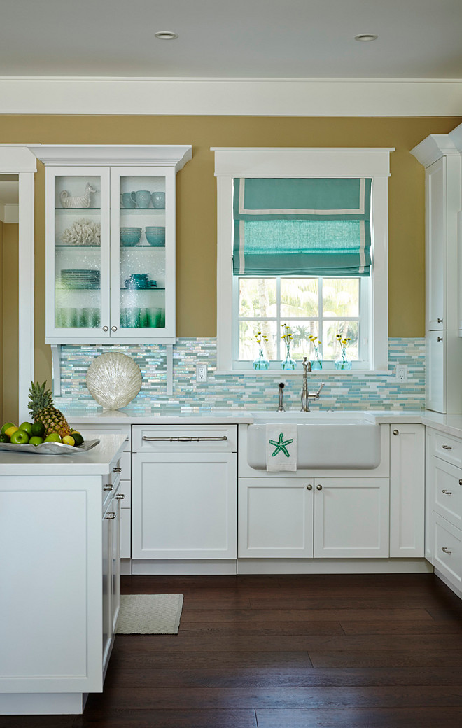 beach house kitchen with turquoise