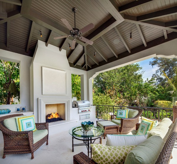 outdoor covered patio with fireplace New Interior Design Ideas for the New Year - Home Bunch