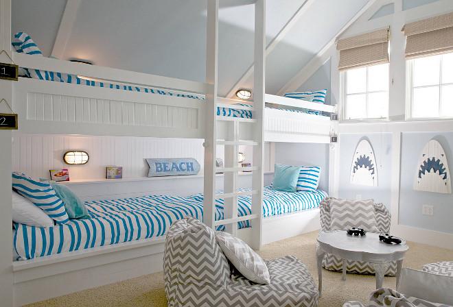 Beach house Bunk Room. Beach house Bunk Room with Four Bunk Beds. Beach house Bunk Room. Beach house Bunk Room Bunk Beds #BeachhouseBunkRoom #Beachhouse #BunkRoom #Bunkbeds #fourbunkbeds #4bunkbeds Kevin Noble via Houzz.
