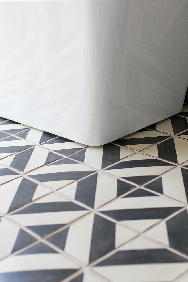 """Bathroom cement tile ideas. Tabarka Studio's Mediterranean 9"""" Oxford on off white 7-5/8x7/8 (installed over a floor heating system). #cementtile #bathroom Patterson Custom Homes"""