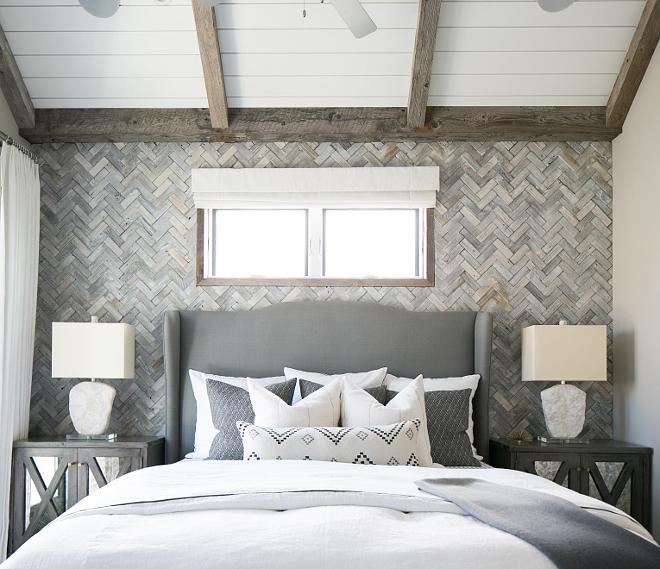 "The Herringbone wooden wall is Mulberry Herringbone Whitewash Mosaics (2""x6""). Herringbone wood wall. Patterson Custom Homes"