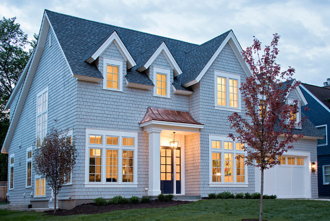 Dark gray or black shingles capping white, gray, yellow, and blue homes; Shingle Style Home Interior Design Ideas Home Bunch Interior Design Ideas
