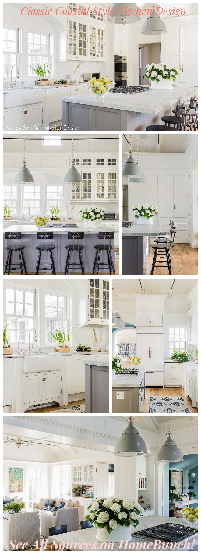 Classic Coastal Style Kitchen Design. See all sources such as paint colors, lighting, countertop, hardware, flooring on HomeBunch