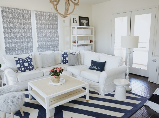 sherwin williams dover white blue and family room with slipcovered sectional sofa