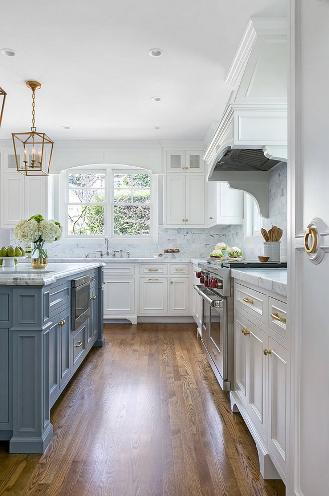 White Kitchen with Stacked Cabinets and Grey Island - Home ... on Rustic:1Gdhjdx6F3G= Farmhouse Kitchen  id=68399