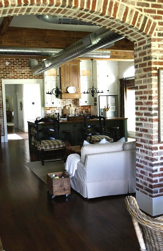 Farmhouse with exposed brick interior walls. Farmhouse with exposed brick interior walls. Farmhouse with exposed brick interior walls. Farmhouse with exposed brick interior walls #Farmhouse #exposedbrick #brick #interiorbrickwalls #brickwalls #interiorwalls Home Bunch's Beautiful Homes of Instagram @blessedmommatobabygirls