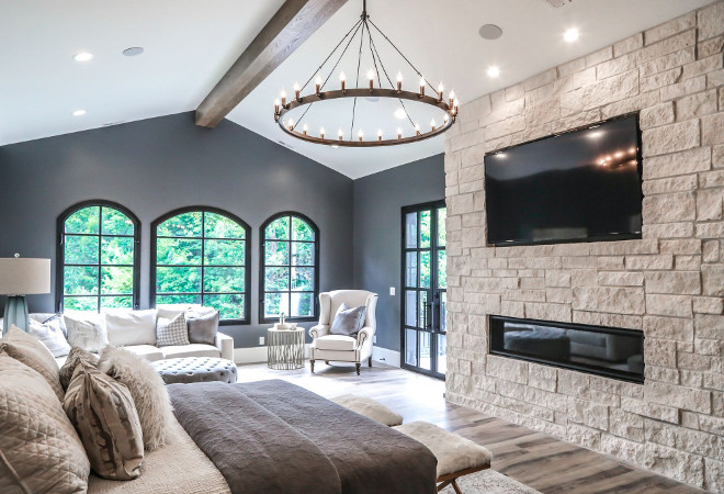 Bedroom Fireplace. Stone fireplace in bedroom. Bedroom Natural stone fireplace. Limestone fireplace #bedroom #fireplace #bedroomfireplace #naturalstonefireplace #naturalstone Tree Haven Homes. Danielle Loryn Design
