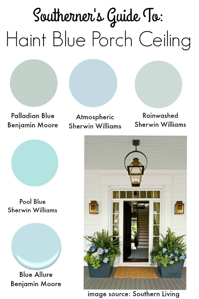 Blue paint colors Benjamin Moore Palladian Blue. Sherwin Williams Atmospheric. Sherwin Williams Rainwashed. Sherwin Williams Pool Blue. Benjamin Moore Blue Allure. Via Southern State of Mind