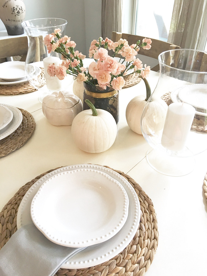 Breakfast Nook Fall Decor with faux white pumpkins and fresh flowers. Perfect decor for brunch! @classicstylehome