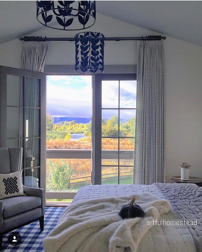 Fall Bedroom Decorating ideas. Bedroom with pumpkin velvet . You don't even need Fall decor in a bedroom with a view like that #fall #bedroom #decor @artfulhomestead