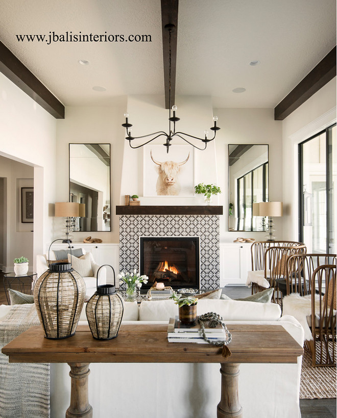 Fireplace Tile. Fireplace with patterned tile. Tile is by Bedrosian Tile. Fireplace Patterned tile ideas #BedrosianTile #fireplacetile #patternedtile Judith Balis Interiors
