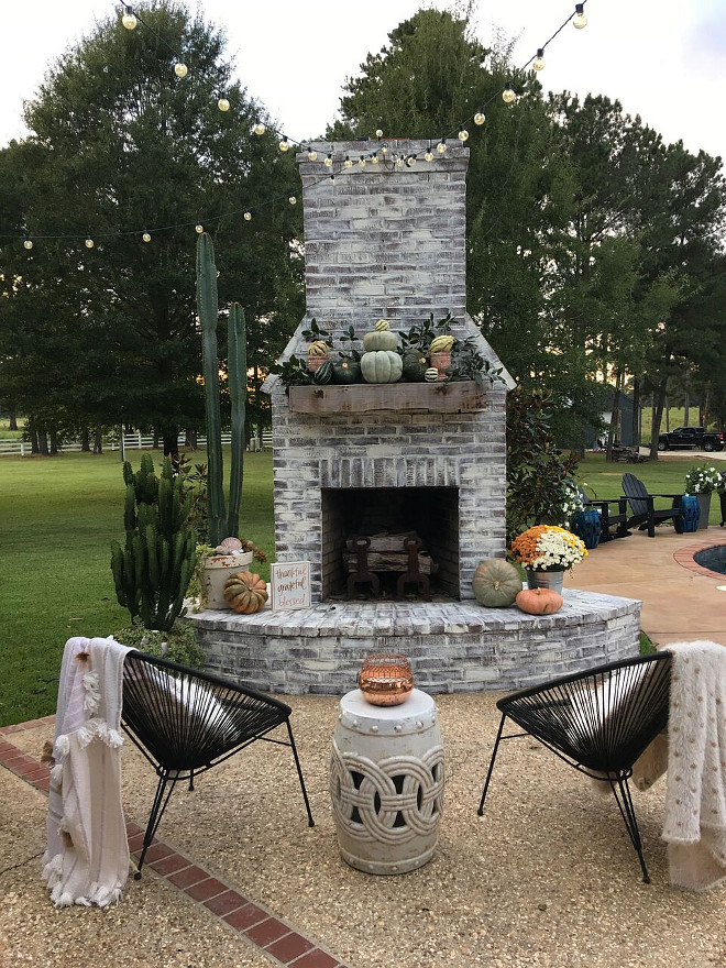 Outdoor Brick Fireplace with Fall Decor. Outdoor Brick Fireplace with Fall Decor. Outdoor Brick Fireplace with Fall Decor. Outdoor Brick Fireplace with Fall Decor #OutdoorBrickFireplace #BrickFireplace #FallDecor #OutdoorFallDecor @cindimc.ivoryhome