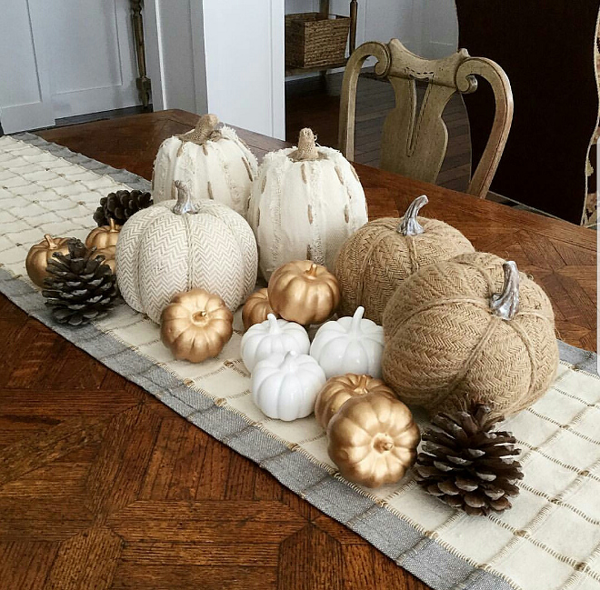 Simple fall decor with faux pumpkins and pinecones. Simple fall decor with faux pumpkins and pine cones @house.becomes.home