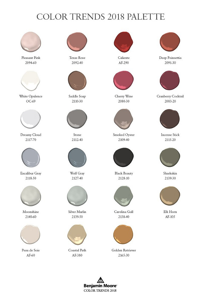 Benjamin Moore 2018 Color Trends. Benjamin Moore 2018 Color Palette. Benjamin Moore Pleasant Pink. Benjamin Moore Texas Rose. Benjamin Moore Calient AF-290. Benjamin Moore Deep Poinsettia. Benjamin Moore White Opulence OC-69. Benjamin Moore Saddle Soap. Benjamin Moore Cherry Wine. Benjamin Moore Cramberry Cocktail. Benjamin Moore Dreamy Cloud 2117-70. Benjamin Moore Stone. Benjamin Moore Smoked Oyster. Benjamin Moore Incense Stick. Benjamin Moore Excalibur Gray 2118-50. Benjamin Moore Wolf Gray. Benjamin Moore Black Beauty. Benjamin Moore Sharkskin. Benjamin Moore Moonshine 2140-60. Benjamin Moore Silver Marlin. Benjamin Moore Carolina Gull. Benjamin Moore Elk Horn. Benjamin Moore Peau de Soie. Benjamin Moore Coastal Path. Benjamin Moore Golden Retriever. Benjamin Moore 2018 Color Trends. Benjamin Moore 2018 Color Palette. Benjamin Moore 2018 Color Trends. Benjamin Moore 2018 Color Palette #BenjaminMoore2018ColorTrends #BenjaminMoore #2018 #ColorPalette