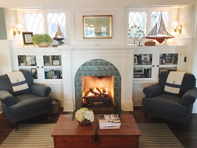 Family room fireplace flanked by chairs. Beautiful Homes of Instagram @SweetShadyLane