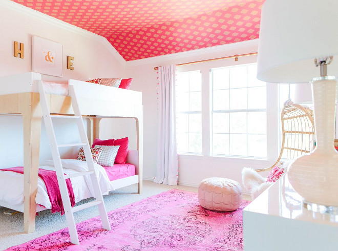 Girls bedroom with bunk beds and wallpaper on ceiling. Wallpaper is Kravet Echo Heirloom Wallpaper. Girls bedroom with bunk beds and wallpaper on ceiling. Girls bedroom with bunk beds and wallpaper on ceiling. Girls bedroom with bunk beds and wallpaper on ceiling. Girls bedroom with bunk beds and wallpaper on ceiling. #Girlsbedroom #bunkbeds #wallpaper #ceilingwallpaper Lark Interiors