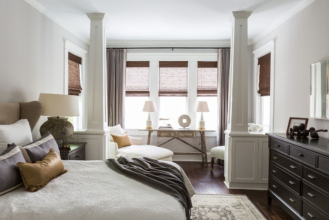 Master Bedroom Design. Master Bedroom Design. -Desired a romantic, serene retreat.  -Utilized luxurious fabrics applied in simple yet elegant ways to create a subtle beauty within the space.  -Installed built-in bookshelves behind the sitting area columns because they are avid readers.  Master Bedroom Design. Master Bedroom Design #MasterBedroom #MasterBedroomDesign Marie Flanigan Interiors