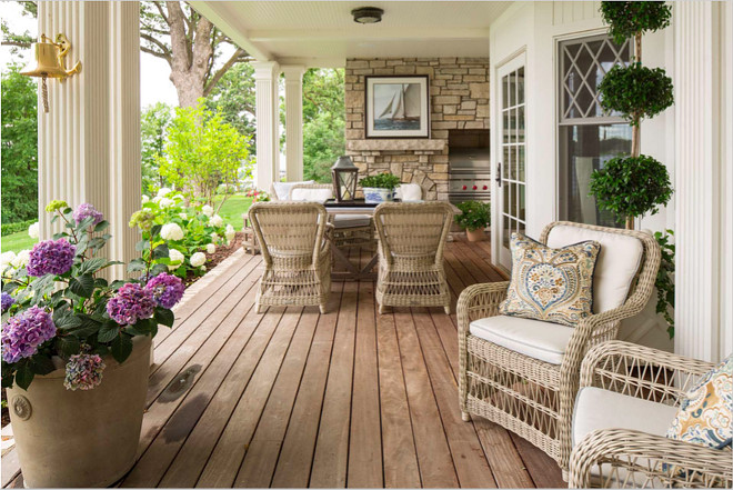 Porch. Back porch. Porch with dininbg area. All furniture is Kinglsey Bates. Brass bell is from Nantucket. #porch #backporch #porchdiningarea Beautiful Homes of Instagram @SweetShadyLane