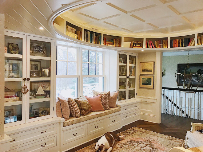 Reading room with window seat and custom round bookshelves and built-ins with glass door to avoid dust on books. Beautiful Homes of Instagram @SweetShadyLane