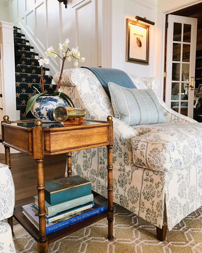 Side Table decor. Close up of my One King's Lane antique table. I love it's size and charm and it's perfect between the two A. Rudin chairs. Side table decor #sidetabledecor Beautiful Homes of Instagram @SweetShadyLane