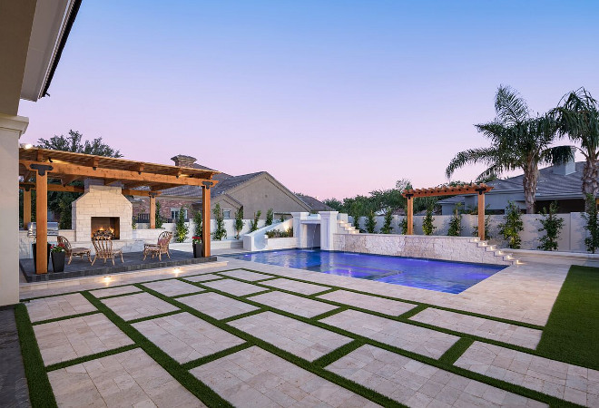Backyard with pool #backyard #pool A Finer Touch Construction