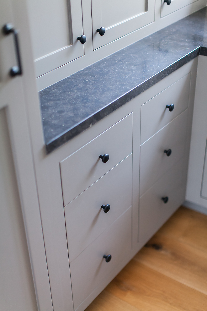 Black hardware on grey cabinet Cabinet hardware is Emtek - pulls and knobs