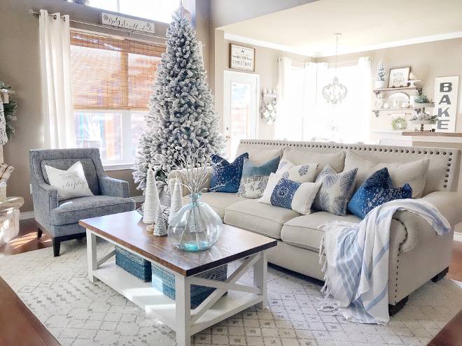 Blue and White Christmas Decor Blue and White Christmas Decor Blue and White Christmas Decor Living room Blue and White Christmas Decor
