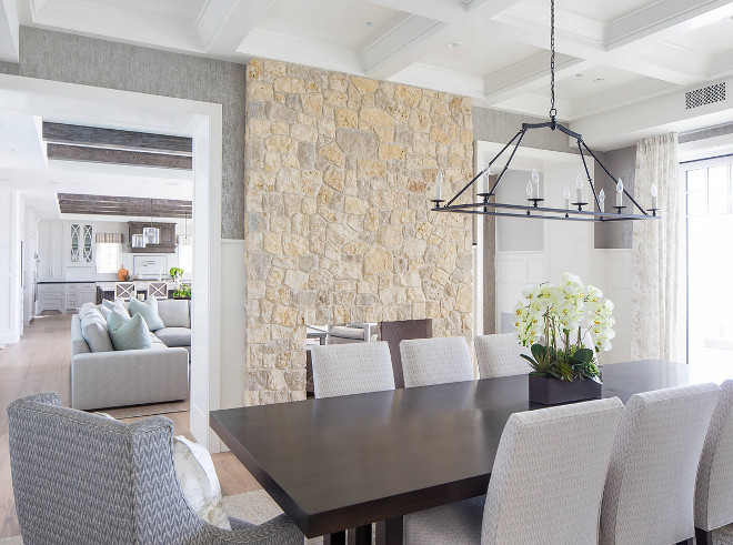 Dining room stone fireplace Dining room stone fireplace, The kitchen and family room opens to a dining room with two-sided stone fireplace, Dining room stone fireplace Dining room stone fireplace #Diningroom #stonefireplace