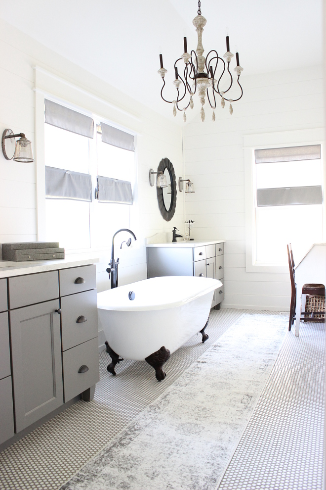 Farmhouse Bathroom Penny Tile Floor and Shiplap Walls Fixer Upper Farmhouse Bathroom Penny Tile Floor and Shiplap Walls Farmhouse Bathroom Penny Tile Floor and Shiplap Walls #FarmhouseBathroom #PennyFloorTile #Shiplap #Fixerupper Beautiful Homes of Instagram Home Bunch @crateandcottage
