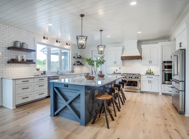 "Farmhouse kitchen with x side island, The side of the island features a ""X"" design and shiplap, Farmhouse kitchen with x side island Farmhouse kitchen with x side island #Farmhousekitchen #xsideisland"