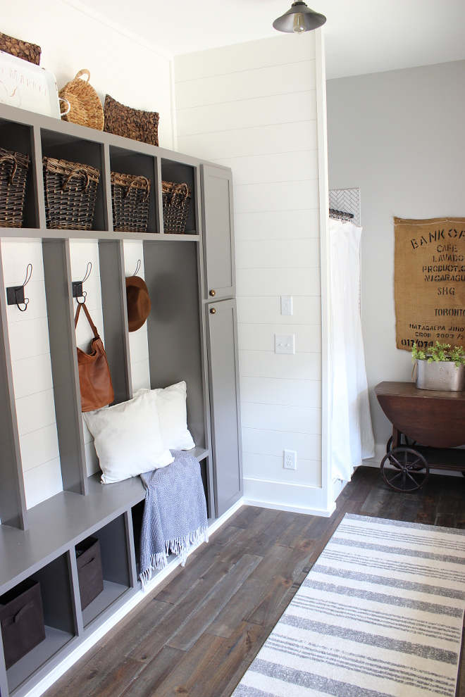 Mudroom with shower This mudroom has an extra shower for muddy boots, children, and or dogs #mudroom #mudroomshower Beautiful Homes of Instagram Home Bunch @crateandcottage