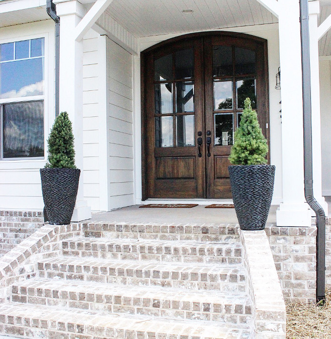 "Whitewashed exterior brick. Modern farmhouse with Whitewashed exterior brick porch Magnolia Ridge"" General Shale, Ivory Mortar #Whitewashedexteriorbrick #Whitewashedbrick"