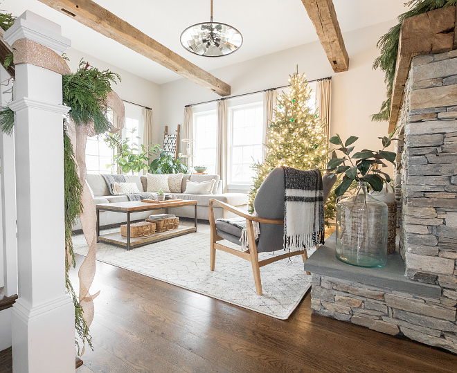 Living room ceiling beams and stone fireplace Combination of natural stone and reclaimed wood Living room #livingroom #beams #stone Home Bunch Beautiful Homes of Instagram