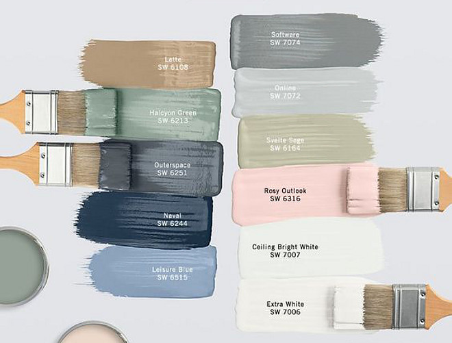 Beautiful Paint Colors Beautiful paint color ideas Latte SW 6108 by Sherwin Williams, Halcyon Green SW 5213 by Sherwin Williams, Outerspace SW 6251 by Sherwin Williams, Naval SW 6244 by Sherwin Williams, Leisure Blue SW 6515 by Sherwin Williams, Software SW 7074 by Sherwin Williams, Online SW 7072 by Sherwin Williams, Svelte Sage SW 6164 by Sherwin Williams, Rosy Outdlook SW 6316 by Sherwin Williams, Ceiling Bright White SW 7007 by Sherwin Williams, Extra White SW 7006 by Sherwin Williams