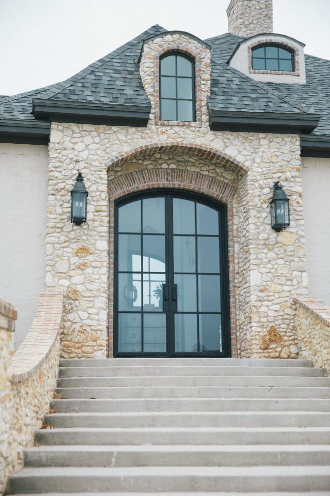 Black Steel and glass front doors- custom made glass front steel doors 10 foot tall
