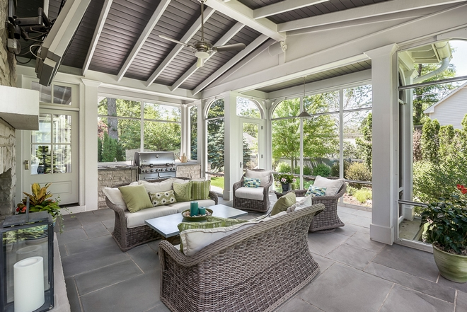 I absolutely love this screened-in porch Notice the architectural details Tile is Bluestone
