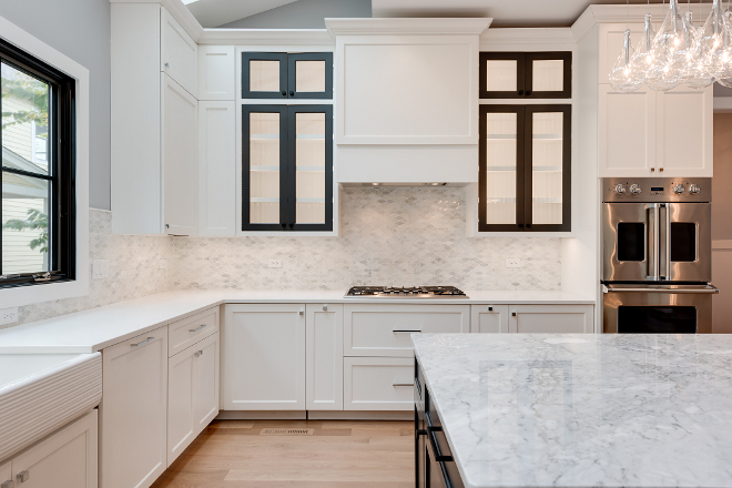 Kitchen Cabinet Maple painted White Dove by Benjamin Moore