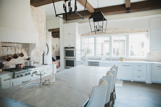 Kitchen countertop is honed arabescato marble