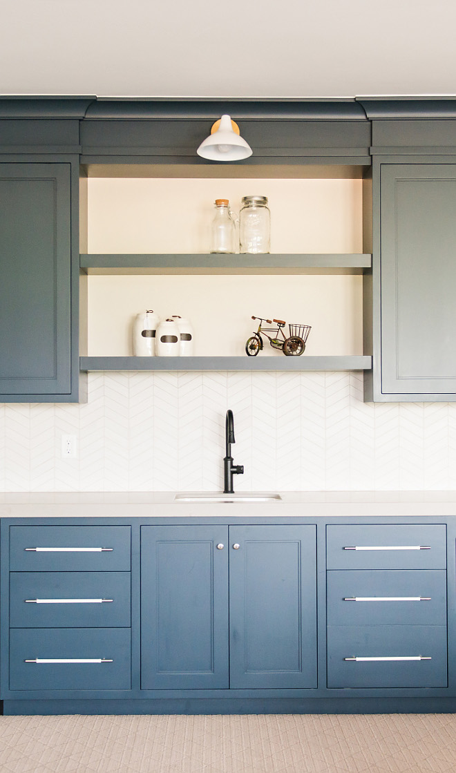 Navy cabinet with herringbone tile Navy cabinet with herringbone tile ideas Navy cabinet with herringbone tile